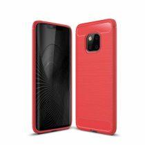 Huawei Mate 20 Pro Szilikon Tok Ütésállókivitel Karbon Mintázattal Piros