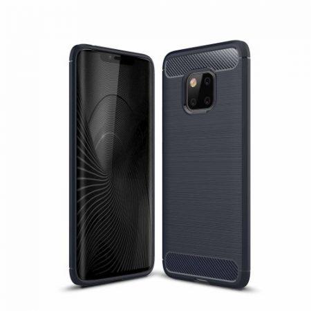 Huawei Mate 20 Pro Szilikon Tok Ütésállókivitel Karbon Mintázattal Sötétkék