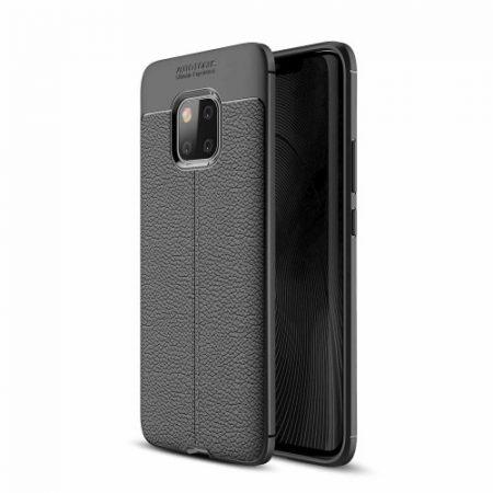 Huawei Mate 20 Pro Szilikon Tok Bőrmintázattal TPU Prémium Fekete