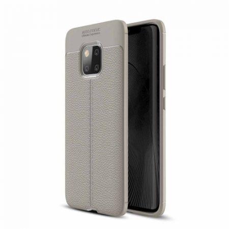Huawei Mate 20 Pro Szilikon Tok Bőrmintázattal TPU Prémium Szürke