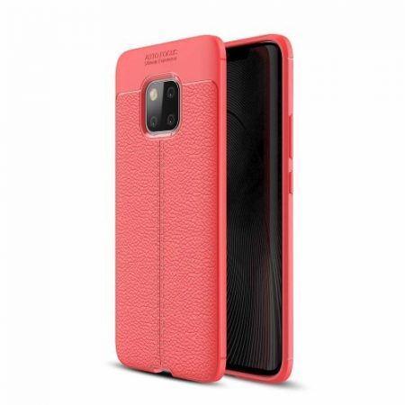 Huawei Mate 20 Pro Szilikon Tok Bőrmintázattal TPU Prémium Piros