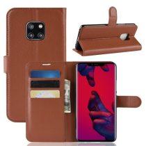 Huawei Mate 20 Pro Notesz Tok Business Series Kitámasztható Bankkártyatartóval Barna