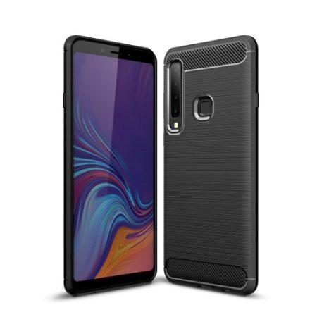 Samsung Galaxy A9 (2018) Szilikon Tok Ütésállókivitel Karbon Mintázattal Fekete