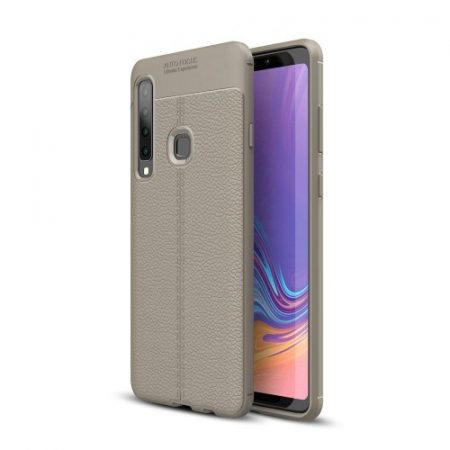 Samsung Galaxy A9 (2018) Szilikon Tok Bőrmintázattal TPU Prémium Szürke