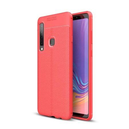 Samsung Galaxy A9 (2018) Szilikon Tok Bőrmintázattal TPU Prémium Piros