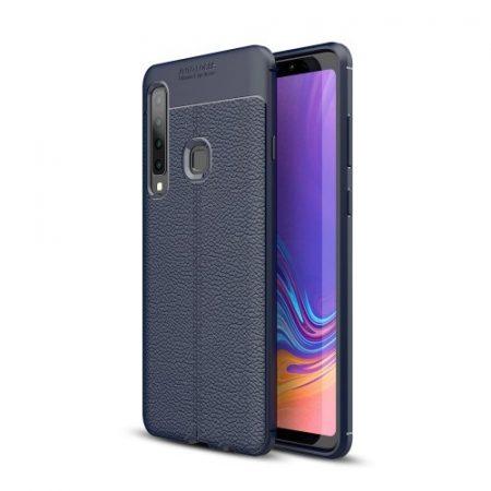 Samsung Galaxy A9 (2018) Szilikon Tok Bőrmintázattal TPU Prémium Sötétkék