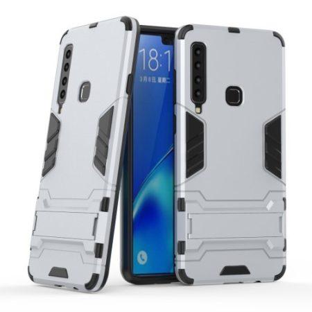 Samsung Galaxy A9 (2018) 2in1 Tok Ütésálló - Kitámasztható TPU Hybrid Ezüst