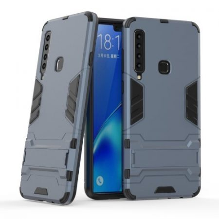 Samsung Galaxy A9 (2018) 2in1 Tok Ütésálló - Kitámasztható TPU Hybrid Sötétkék