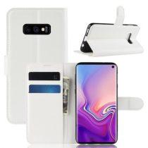 Samsung Galaxy S10e Notesz Tok Business Series Kitámasztható Bankkártyatartóval Fehér