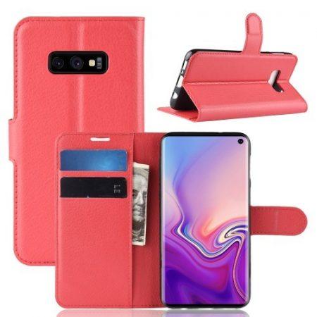 Samsung Galaxy S10e Notesz Tok Business Series Kitámasztható Bankkártyatartóval Piros