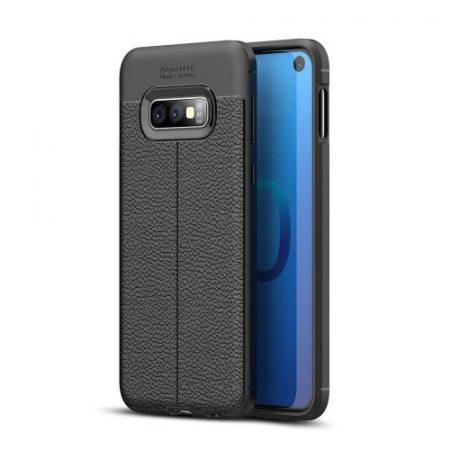 Samsung Galaxy S10e Szilikon Tok Bőrmintázattal TPU Prémium Fekete