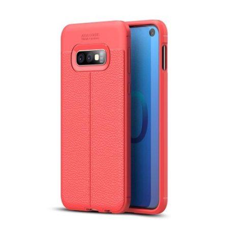 Samsung Galaxy S10e Szilikon Tok Bőrmintázattal TPU Prémium Piros