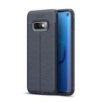 Samsung Galaxy S10e Szilikon Tok Bőrmintázattal TPU Prémium Sötétkék
