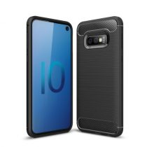 Samsung Galaxy S10e Szilikon Tok Ütésállókivitel Karbon Mintázattal Fekete