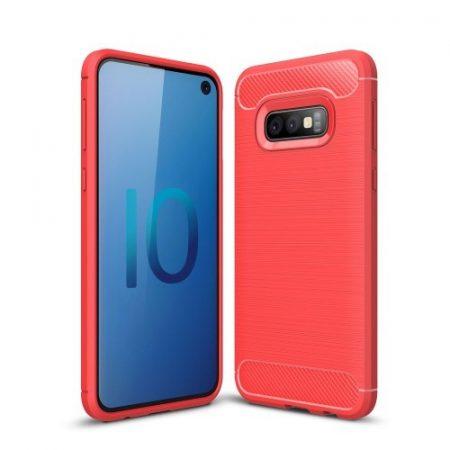 Samsung Galaxy S10e Szilikon Tok Ütésállókivitel Karbon Mintázattal Piros
