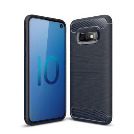 Samsung Galaxy S10e Szilikon Tok Ütésállókivitel Karbon Mintázattal Sötétkék