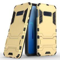 Samsung Galaxy S10e 2in1 Tok Ütésálló - Kitámasztható TPU Hybrid Arany