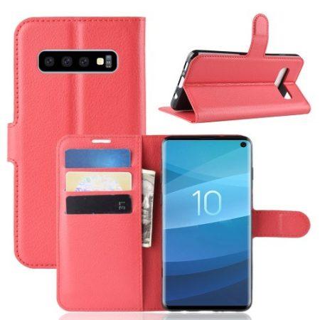Samsung Galaxy S10 Notesz Tok Business Series Kitámasztható Bankkártyatartóval Piros