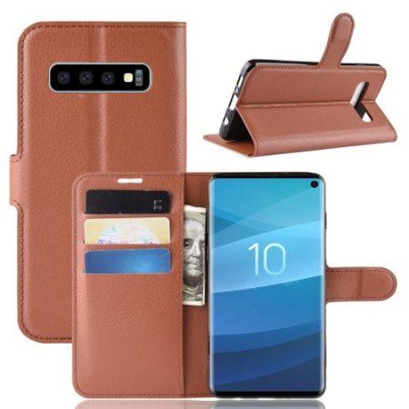Samsung Galaxy S10 Notesz Tok Business Series Kitámasztható Bankkártyatartóval Barna