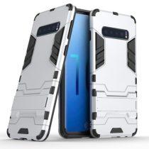 Samsung Galaxy S10 2in1 Tok Ütésálló - Kitámasztható TPU Hybrid Ezüst