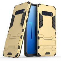 Samsung Galaxy S10 2in1 Tok Ütésálló - Kitámasztható TPU Hybrid Arany