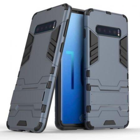 Samsung Galaxy S10 2in1 Tok Ütésálló - Kitámasztható TPU Hybrid Sötétkék