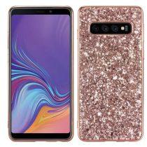 Samsung Galaxy S10  TPU Csillámló Szilikon Tok Glitteres Fényes Rózsaarany