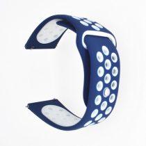 Samsung Galaxy Watch Active Óraszíj - Pótszíj SM-R500 Szilikon Hollow Style Lyukacsos Sötétkék/Fehér