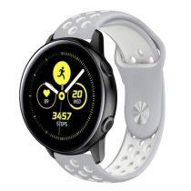 Samsung Galaxy Watch Active Óraszíj - Pótszíj SM-R500 Szilikon Hollow Style Lyukacsos Szürke/Fehér