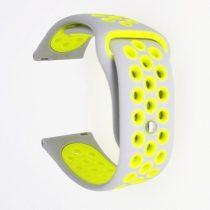 Samsung Galaxy Watch Active Óraszíj - Pótszíj SM-R500 Szilikon Hollow Style Lyukacsos Szürke/Sárga