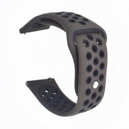 Samsung Galaxy Watch Active Óraszíj - Pótszíj SM-R500 Szilikon Hollow Style Lyukacsos Barna/Fekete