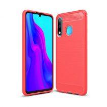 Huawei P30 Lite Szilikon Tok Ütésállókivitel Karbon Mintázattal Piros