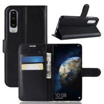 Huawei P30 Notesz Tok Business Series Kitámasztható Bankkártyatartóval Fekete