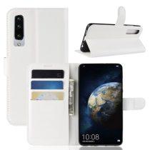 Huawei P30 Notesz Tok Business Series Kitámasztható Bankkártyatartóval Fehér