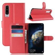 Huawei P30 Notesz Tok Business Series Kitámasztható Bankkártyatartóval Piros