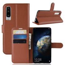 Huawei P30 Notesz Tok Business Series Kitámasztható Bankkártyatartóval Barna