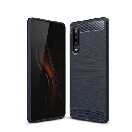Huawei P30 Szilikon Tok Ütésállókivitel Karbon Mintázattal Sötétkék