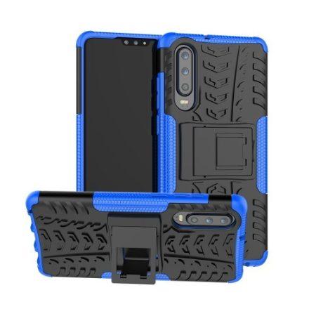 Huawei P30 Ütésálló Tok Kitámasztható 2in1 Hybrid Kék