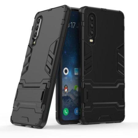 Huawei P30 - 2in1 Tok Ütésálló - Kitámasztható TPU Hybrid Fekete