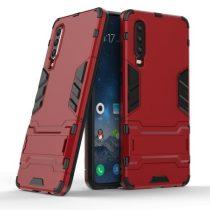 Huawei P30 - 2in1 Tok Ütésálló - Kitámasztható TPU Hybrid Piros