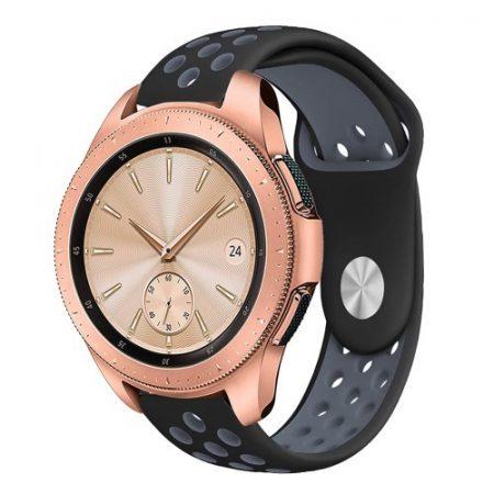Samsung Galaxy Watch 42mm Pótszíj - Szilikon Óraszíj TwoTone Series Fekete/Szürke