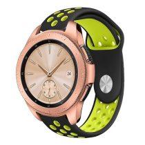 Samsung Galaxy Watch 42mm Pótszíj - Szilikon Óraszíj TwoTone Series Fekete/Zöld