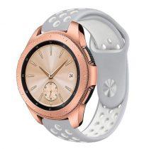 Samsung Galaxy Watch 42mm Pótszíj - Szilikon Óraszíj TwoTone Series Szürke/Fehér