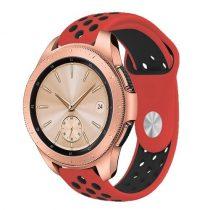 Samsung Galaxy Watch 42mm Pótszíj - Szilikon Óraszíj TwoTone Series Piros/Fekete