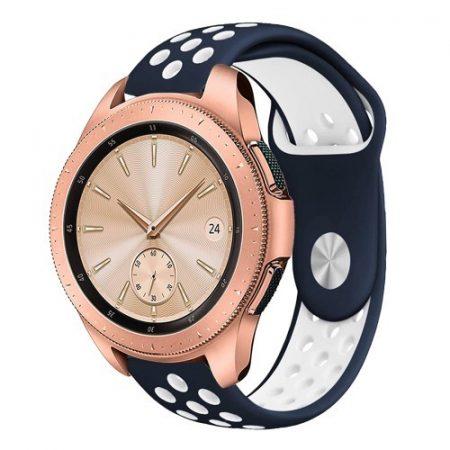 Samsung Galaxy Watch 42mm Pótszíj - Szilikon Óraszíj TwoTone Series Kék/Fehér