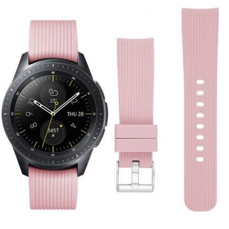 Samsung Galaxy Watch 42mm Óraszíj - Pótszíj Szilikon Stripe Texture Style RMPACK Rózsaszín