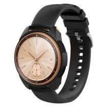 Samsung Galaxy Watch 42mm Szilikon Tok - Keretvédelemmel Fekete