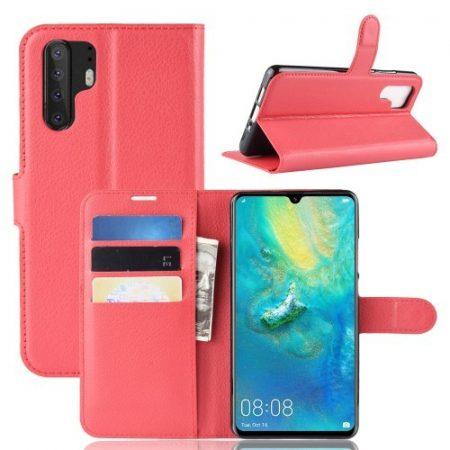 Huawei P30 Pro Notesz Tok Business Series Kitámasztható Bankkártyatartóval Piros