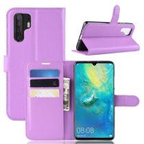 Huawei P30 Pro Notesz Tok Business Series Kitámasztható Bankkártyatartóval Lila