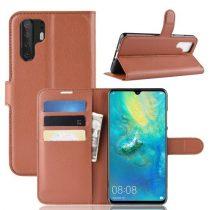 Huawei P30 Pro Notesz Tok Business Series Kitámasztható Bankkártyatartóval Barna